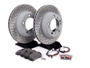 ES#2598678 - 99635240104ROKT2 - Rear Brake Service Kit - Featuring Sebro rotors and Mintex brake pads - Assembled By ECS - Porsche
