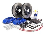 ES#260944 - 1K0698304 - Front Big Brake Kit - Stage 3 - 2-Piece Cross-Drilled & Slotted Rotors (332x32) - Featuring ECS 4-piston brake calipers, caliper brackets, Hawk HPS pads, drilled and slotted semi-floating two-piece rotors, Exact-Fit stainless steel lines and hardware - ECS - Audi Volkswagen
