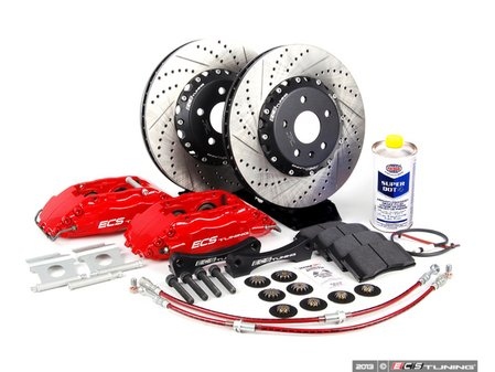 ES#257483 - 1K0698300 - Front Big Brake Kit - Stage 3 - 2-Piece Cross-Drilled & Slotted Rotors (332x32) - Four-Piston Red ECS caliper, caliper carrier brackets, pads, two-piece rotors, exact-fit stainless steel lines, and hardware - ECS - Audi Volkswagen
