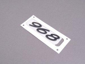 """ES#1439359 - 9445592200370C - """"968"""" Logo - Rally Black - 968 emblem below the rear hatch - Genuine Porsche - Porsche"""