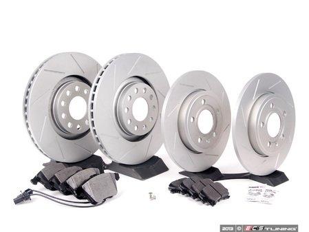 ES#2562108 - 8E0301ADSGMTKT3 - Performance Front & Rear Brake Service Kit - Featuring ECS GEOMET Slotted rotors and Hawk HPS pads - Assembled By ECS - Audi