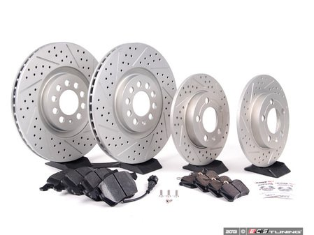 ES#2681161 - 8L0301XSGMKT1 - Front & Rear Performance Brake Service Kit - Featuring ECS GEOMET Drilled & Slotted rotors and Hawk HPS pads - Assembled By ECS - Audi