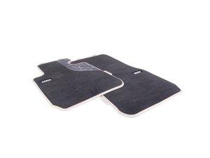 ES#2537482 - 51472293360 - Modern Line Front Carpeted Floor Mat Set - Schwarz/Black with beige accent and textile lines - Genuine BMW - BMW