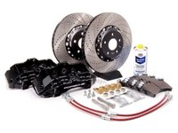 ES#7370 - MK5A3S5BBK-bXS - Front Big Brake Kit - Stage 5 - 2-Piece Cross-Drilled & Slotted Rotors (352x32) - With Black Calipers - Six-piston Porsche Cayenne caliper, pads, two-piece rotors, exact-fit stainless steel lines, and hardware - ECS - Audi Volkswagen