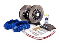 ES#7324 - MK5A3S5BBK-BLUXS - Front Big Brake Kit - Stage 5 - 2-Piece Cross-Drilled & Slotted Rotors (352x32) - With Blue Calipers - Six-piston Porsche Cayenne caliper, pads, two-piece rotors, exact-fit stainless steel lines, and hardware - ECS - Audi Volkswagen