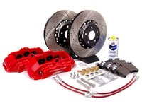 ES#7366 - MK5A3S5BBK-rXS - Front Big Brake Kit - Stage 5 - 2-Piece Cross-Drilled & Slotted Rotors (352x32) - With Red Calipers - Six-piston Porsche Cayenne caliper, pads, two-piece rotors, exact-fit stainless steel lines, and hardware - ECS - Audi Volkswagen