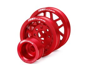 ES#3985 - MK44CPK-RED - Lightweight Underdrive Pulley Set - Red Anodized - Includes a new alternator, power steering and crank pulley that allows you to use a stock belt. - ECS - Audi Volkswagen