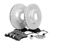 ES#2602303 - 95535140151FOKT - 2003-2010 Cayenne S/Turbo/GTS Front Brake Service Kit - Featuring Meyle rotors and Bosch QuietCast brake pads - Assembled By ECS - Porsche