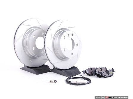 ES#2606368 - 34356789445SKT - Performance Rear Brake Service Kit - Featuring ECS GEOMET slotted rotors and Hawk HPS pads - Assembled By ECS - BMW