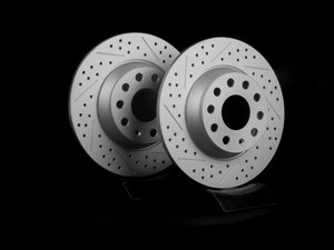 ES#2167542 - 1K0615601ADKT4 -  Rear Cross Drilled & Slotted Brake Rotors - Pair (282x12) - Featuring GEOMET protective coating. - ECS - Audi Volkswagen