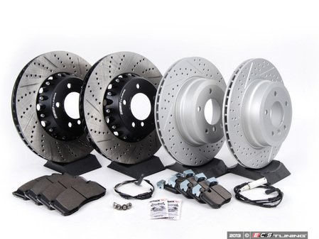 ES#2649828 - 34116778647-KT3 - Performance Front & Rear Brake Service Kit - Featuring ECS front 2 piece drilled and slotted and 2 rear GEOMET drilled and slotted rotors and Hawk HPS pads - Assembled By ECS - BMW