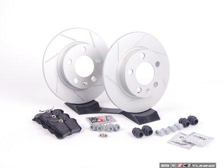 ES#2594119 - 1J0601CSLGMTKT - Performance Rear Brake Service Kit (232x9) - Featuring ECS GEOMET slotted rotors and Hawk HPS pads - Assembled By ECS - Audi Volkswagen