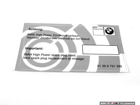 ES#2696214 - 01399791390 - Spark Plug Service Indicator Label - Simplify your maintenance records - documentation is key! - Genuine BMW - BMW