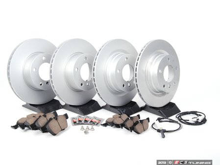 ES#2682258 - 34116854998KT5 - Front & Rear Brake Service Kit - Featuring Zimmermann rotors rotors and Akebono pads - Assembled By ECS - BMW