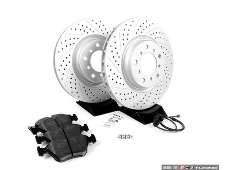 ES#252401 - E46M3RPS-FRT - Performance Front Brake Service Kit - Featuring ECS GEOMET cross drilled and slotted rotors and Hawk HPS pads - Assembled By ECS - BMW