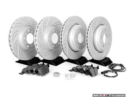 ES#2598538 - E46M3FRBRK-KT5 - Performance Front & Rear Brake Service Kit - Featuring ECS GEOMET cross drilled and slotted rotors and Hawk HPS pads - Assembled By ECS - BMW