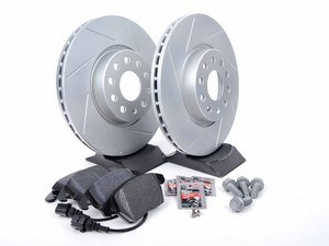 ES#2597862 - HB543F.760DSKT1 - Performance Front Brake Service Kit (312x25) - Featuring ECS GEOMET slotted rotors and Hawk HPS pads. - Assembled By ECS - Volkswagen