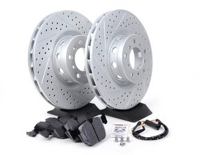 ES#2598461 - ECSE393411-7KT - Performance Front Brake Service Kit - Featuring ECS GEOMET cross drilled and slotted rotors and Hawk HPS pads - Assembled By ECS - BMW