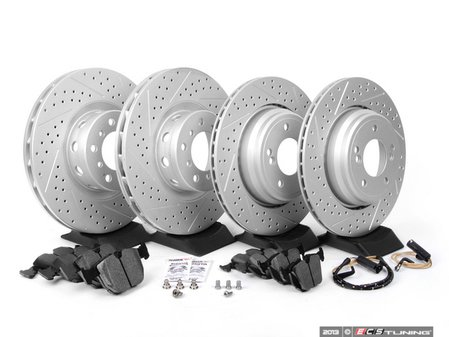 ES#2598471 - ECSE39341121-KT9 - Performance Front And Rear Brake Service Kit - Featuring ECS GEOMET cross drilled and slotted rotors and Hawk HPS pads - Assembled By ECS - BMW