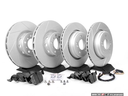 ES#2598470 - ECSE39341121-KT8 - Performance Front And Rear Brake Service Kit - Featuring ECS GEOMET slotted rotors and Hawk HPS pads - Assembled By ECS - BMW