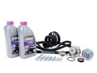 ES#8454 - 06A198502 - ECS Ultimate Plus Timing Belt Kit With Black Underdrive Pulley Set - Now with engine seals, motor mount bolts, and coolant. - Assembled By ECS - Volkswagen