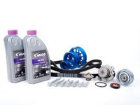 ES#8471 - 06A198503 - ECS Ultimate Plus Timing Belt Kit With Blue Underdrive Pulley Set - Now with engine seals, motor mount bolts, and coolant. - Assembled By ECS - Volkswagen
