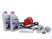 ES#8474 - 06A198506 - ECS Ultimate Plus Timing Belt Kit With Red Underdrive Pulley Set - Now with engine seals, motor mount bolts, and coolant. - Assembled By ECS - Volkswagen