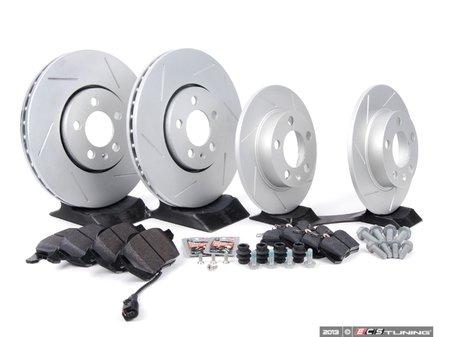 ES#2594104 - 1J0301KSLGMTKT -  Performance Front & Rear Brake Service Kit (288x25 / 232x9) - Featuring ECS GEOMET slotted rotors and Hawk HPS pads. - Assembled By ECS - Volkswagen