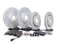 ES#2581486 - 1J0698202KT - Performance Front  Rear Brake Service Kit (312x25/256x22) - Featuring ECS GEOMETreg; cross drilled  slotted rotors and Hawk HPS pads. - Assembled By ECS - Volkswagen