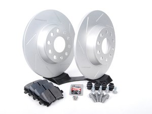 ES#2597837 - HB544F.628SLTKT - Performance Rear Brake Service Kit (282x12) - Includes ECS GEOMET slotted rotors and Hawk HPS pads. - Assembled By ECS - Volkswagen