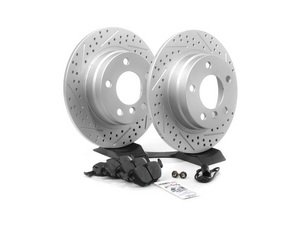 ES#2598597 - E36RPSR3-KT - Performance Rear Brake Service Kit - Featuring ECS GEOMET cross drilled and slotted rotors and Hawk HPS pads - Assembled By ECS - BMW