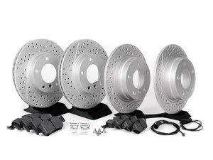 ES#2598623 - E36RPSFR3-KT - Performance Front And Rear Brake Service Kit - Featuring ECS GEOMET cross drilled and slotted rotors and Hawk HPS pads - Assembled By ECS - BMW