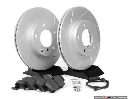 ES#1905574 - E36RPS1 - Performance Front Brake Service Kit - Featuring ECS GEOMET slotted rotors and Hawk HPS pads - Assembled By ECS -