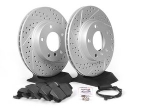 ES#2598580 - E36RPS4-KT - Performance Front Brake Service Kit - Featuring ECS GEOMET cross drilled and slotted rotors and Hawk HPS pads - Assembled By ECS - BMW