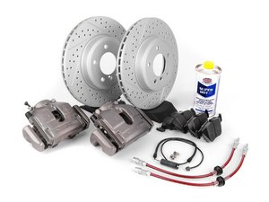 ES#2550468 - 341136462 - OE Front Big Brake Kit (325x25) - Featuring ECS GEOMET coated cross drilled and slotted rotors and Hawk HPS pads! - Assembled By ECS - BMW
