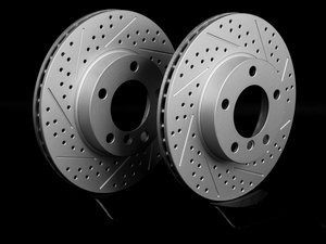 ES#2190214 - 1165455XSGMTLRA - Front Cross Drilled & Slotted Brake Rotors - Pair (286x22) - Featuring GEOMET protective coating offering superior rust protection for long lasting, great looking rotors. - ECS - BMW