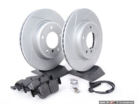 ES#2594737 - 34351164371TOKT - Performance Front Brake Service Kit - Featuring ECS GEOMET slotted rotors and Hawk HPS pads - Assembled By ECS -