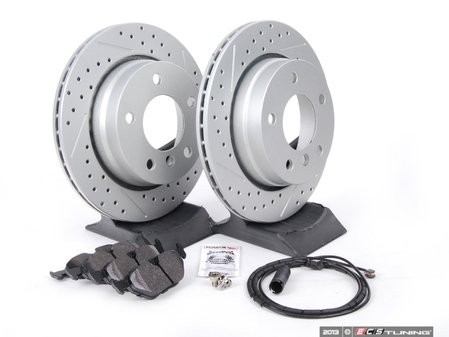ES#2588169 - 34351164372KT - Performance Rear Brake Service Kit - Featuring ECS GEOMET cross drilled and slotted rotors and Hawk HPS pads - Assembled By ECS - BMW