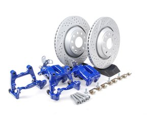 ES#1832114 - MK5R32REAR - Rear Big Brake Kit - Cross Drilled & Slotted Rotors (310x22) - Upgrade your stopping power to the MK5 R32 setup! Includes ECS GEOMET rotors. - Assembled By ECS - Audi Volkswagen