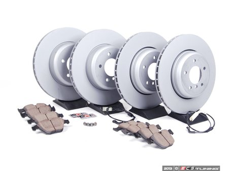 ES#2677967 - 34116763824KT1 - Front And Rear Brake Service Kit - Featuring Zimmerman rotors and Akebono pads - Assembled By ECS - BMW