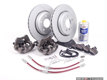 ES#2609156 - 34116765881BBKT - OE Rear Big Brake Kit - (320x22) - Featuring ECS GEOMET coated slotted rotors and Hawk HPS pads! Price includes $140.00 in refundable core charges. - Assembled By ECS - BMW