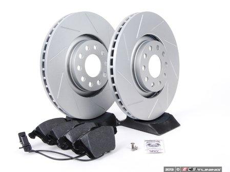 ES#2562104 - 8E0301ADSGMTKT2 - Performance Front Brake Service Kit - Featuring ECS GEOMET Slotted rotors and Hawk HPS pads - Assembled By ECS - Audi