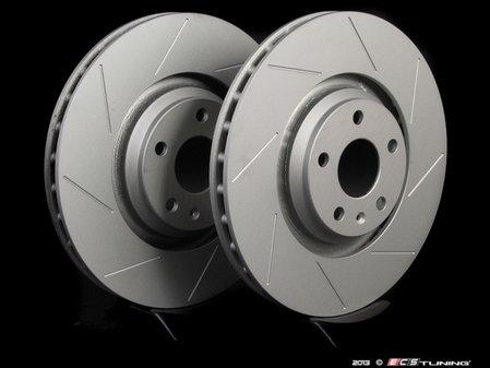 ES#2500854 - 8J0301GSLGMTLRA - Front Slotted Brake Rotors - Pair (340x30) - Featuring GEOMET protective coating. - ECS - Audi Volkswagen