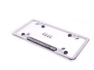 ES#1518763 - PNA70200900 - Porsche Logo License Plate Frame - Polished aluminum finish - Genuine Porsche - Porsche