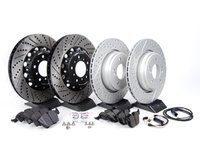 ES#2702955 - 000505ECS02KT3 - Performance Front & Rear Brake Service Kit - Featuring Front ECS 2-piece semi-floating cross drilled and slotted rotors, ECS GEOMET cross drilled and slotted rotors and Hawk HPS pads - Assembled By ECS - BMW