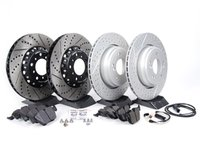 ES#2702949 - 000505ECS01AKT3 - Performance Front & Rear Brake Service Kit - Featuring Front ECS 2-piece semi-floating cross drilled and slotted rotors, ECS GEOMET cross drilled and slotted rotors and Hawk HPS pads - Assembled By ECS - BMW