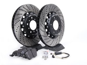 ES#2702941 - 000505ECS02KT2 - Performance Front Brake Service Kit - Featuring ECS 2-piece semi-floating cross drilled and slotted rotors and Hawk HPS pads - Assembled By ECS - BMW