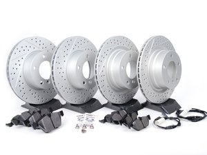 ES#2649809 - 6778051XSGM-KT - Performance Front And Rear Brake Service Kit - Featuring ECS GEOMET drilled and slotted rotors and Hawk HPS pads - Assembled By ECS - BMW
