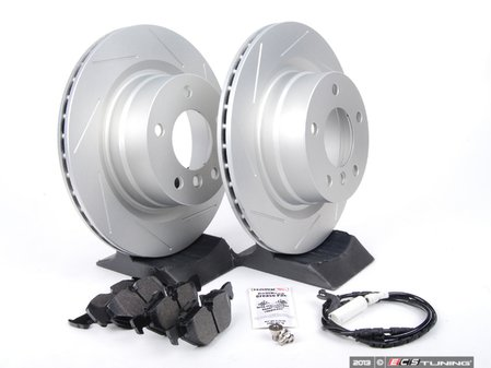 ES#2649793 - 6778051SLGMT-KT - Performance Rear Brake Service Kit - Featuring ECS GEOMET slotted rotors and Hawk HPS pads - Assembled By ECS - BMW