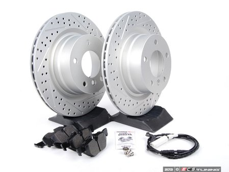ES#2649798 - 6778051XSGMT-R - Performance Rear Brake Service Kit - Featuring ECS GEOMET drilled and slotted rotors and Hawk HPS pads - Assembled By ECS - BMW